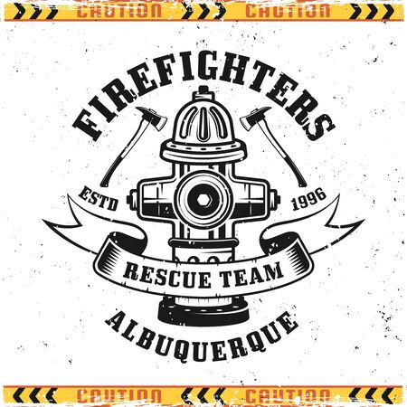 Firefighters vector emblem, badge, label or logo in vintage style with fire hydrant isolated on background with grunge textures on separate layers