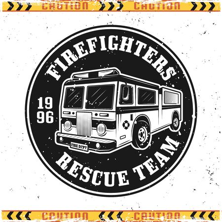 Fire truck vector emblem, badge, label or logo in vintage style isolated on background with grunge textures on separate layers