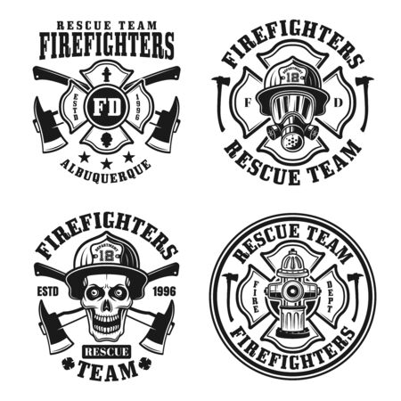 Firefighters set of four vector isolated emblems, badges, labels or logos in vintage black and white style