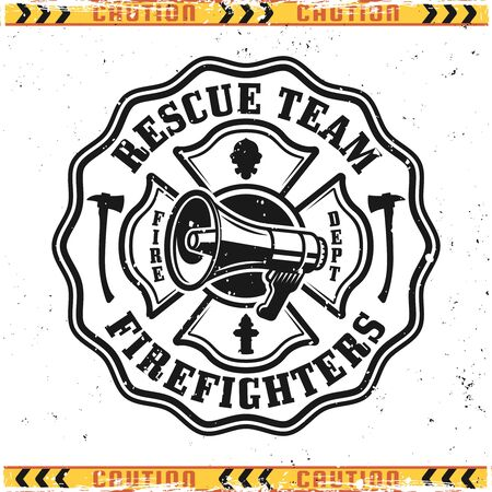 Firefighter rescue team vector emblem, badge, label or logo in vintage style isolated on background with grunge textures on separate layers