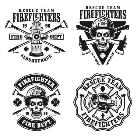 Departamento de bomberos conjunto de cuatro emblemas vectoriales, insignias, etiquetas o logotipos en estilo monocromo vintage aislado sobre fondo blanco.