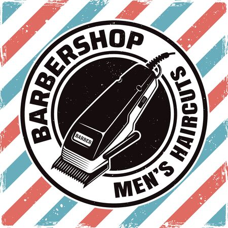 Barbershop round emblem, label, badge or logo with electrical hair clipper isolated illustration with removable textures