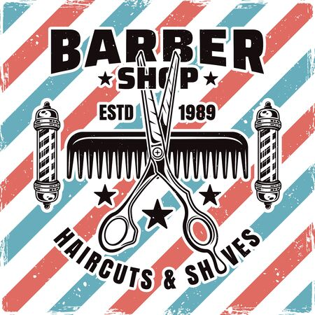 Barbershop emblem, label, badge or logo with scissors and comb isolated illustration with removable textures
