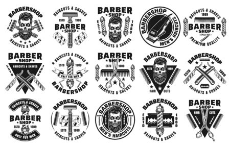 Barbershop set of fifteen vector emblems, badges, labels or logos in vintage monochrome style isolated on white background