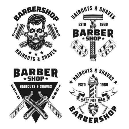 Barbershop set of vector emblems, badges, labels or logos in monochrome vintage style isolated on white background