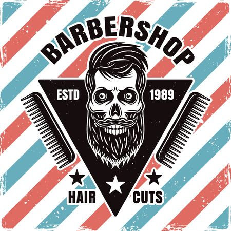 Barbershop emblem, label, badge or logo with bearded skull and combs isolated illustration with removable textures