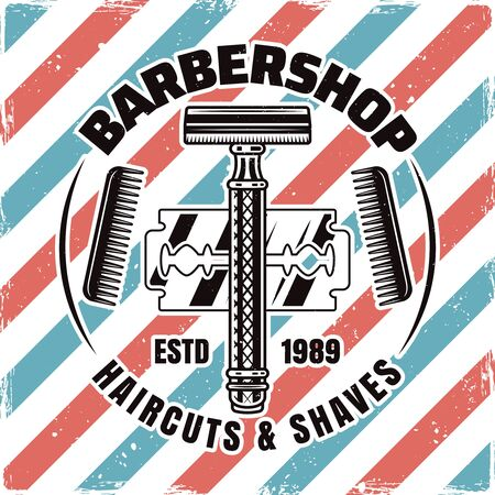Barbershop emblem, label, badge or logo with razor and blade isolated illustration with removable textures Illusztráció