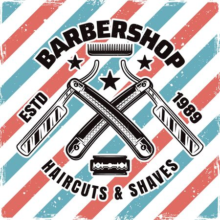 Barbershop emblem, label, badge or logo with two crossed straight razors isolated illustration with removable textures