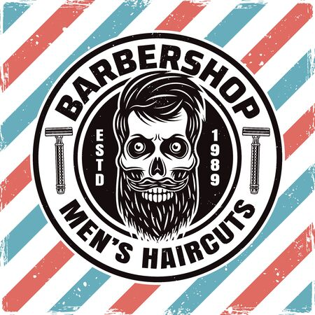 Barbershop round emblem, label, badge or logo with bearded skull isolated illustration with removable textures