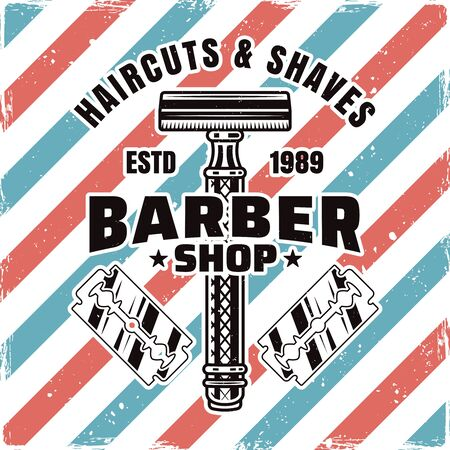 Barbershop emblem, label, badge or logo with razor and blades isolated illustration with removable textures Illusztráció
