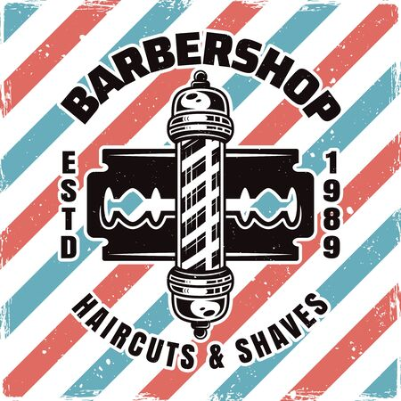 Barbershop emblem, label, badge or logo with barber pole and blade isolated illustration with removable textures