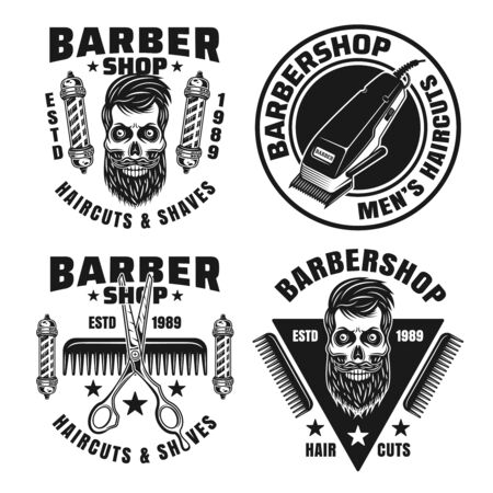 Barbershop and hairdressing vector emblems, badges, labels or logos in monochrome vintage style isolated on white background