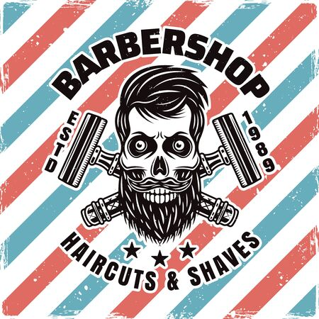 Barbershop emblem, label, badge or logo with bearded skull isolated illustration with removable textures