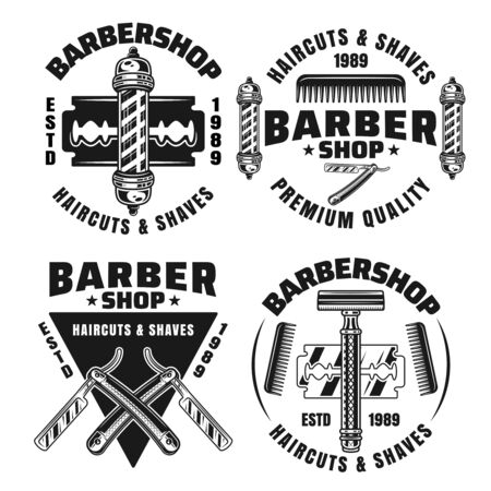 Barbershop and hairdressing set of four vector emblems, badges, labels or logos in isolated on white background