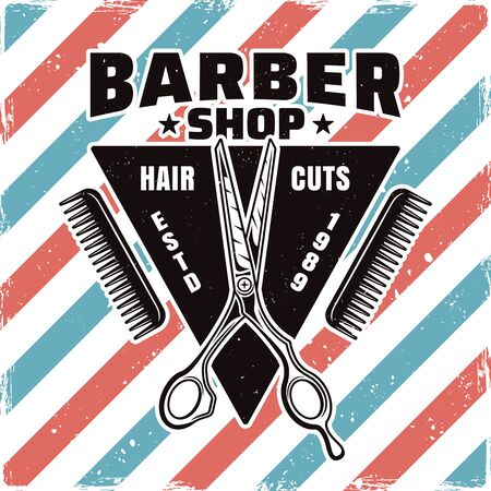 Barbershop emblem, label, badge or logo with scissor. Isolated illustration with removable textures