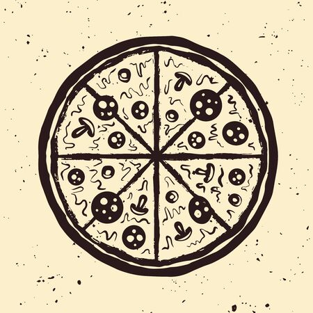 Pizza hand drawn vector illustration in vintage style isolated on background with removable grunge textures
