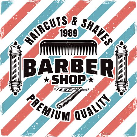 Barbershop and hairdressing service emblem, label, badge or logo isolated illustration with removable textures