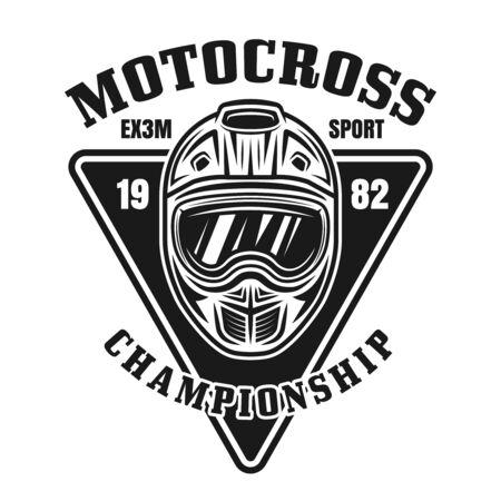 Motocross championship vector vintage black emblem for apparel design isolated on white background