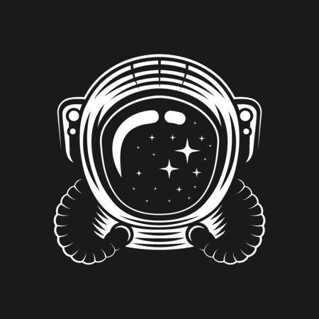 Helmet of astronaut vector illustration on black background. Design for t-shirt other apparel Stockfoto - 140722117