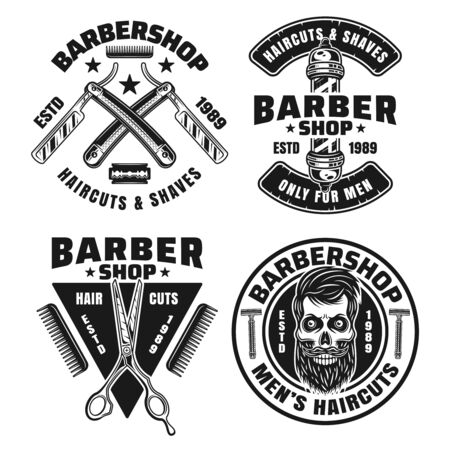 Barbershop set of four vector emblems, badges, labels or logos isolated on white background