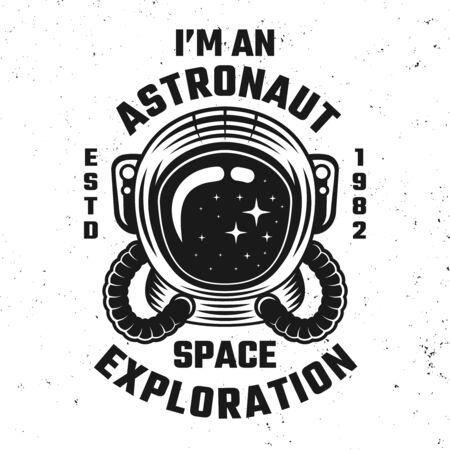 Space exploration vector emblem or apparel design illustration with astronaut helmet Stock Illustratie