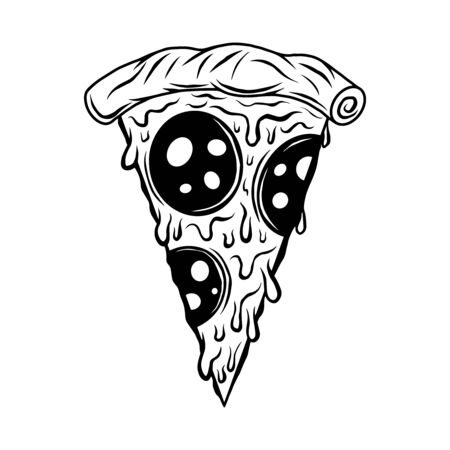 Pizza slice hand drawn vector black and white isolated illustration