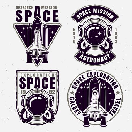 Space exploration set of four vector emblems, badges, labels or t-shirt design isolated vector illustration Ilustrace