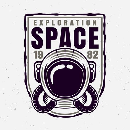 Astronaut helmet vector badge with sample text isolated illustration Stockfoto - 140722121