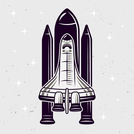 Space shuttle vector illustration isolated on textured light background