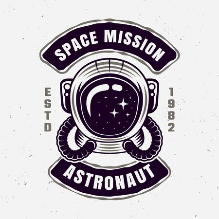 Astronaut space mission vector emblem with sample text isolated illustration Stockfoto - 140722122
