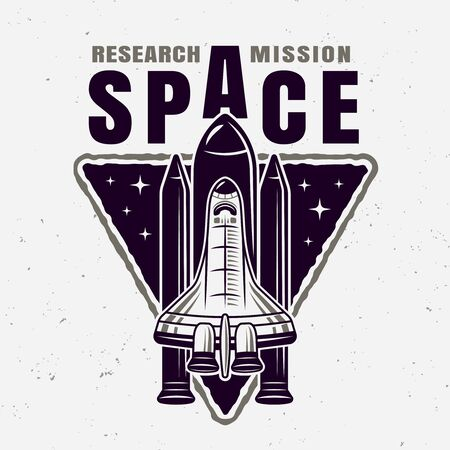 Spaceship vector emblem with sample text isolated illustration