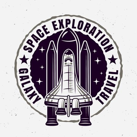 Space exploration vector round emblem with spaceship and sample text isolated illustration Stock Illustratie