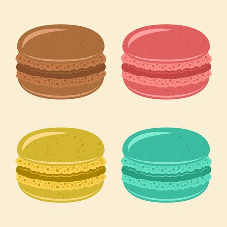 Different types of colored macaroons vector isolated illustration