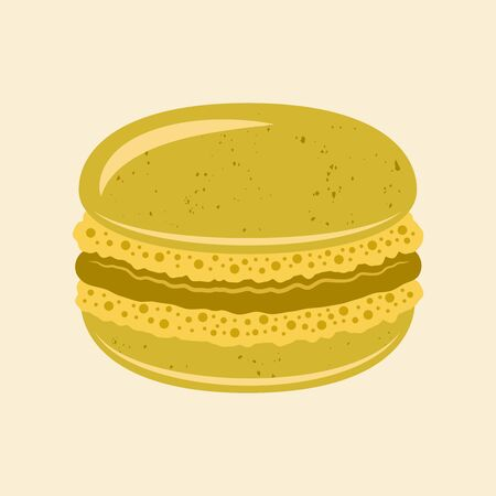 Macaroon traditional french dessert vector pistachio color isolated illustration