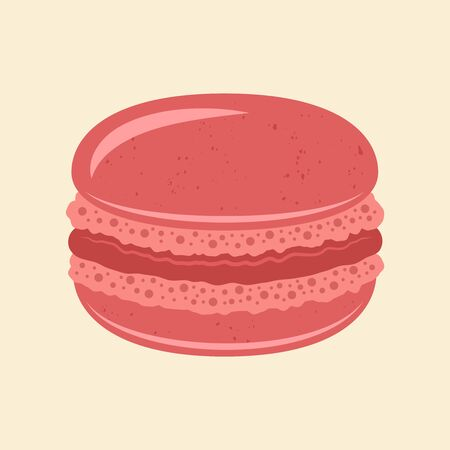 Macaroon traditional french dessert vector pink color isolated illustration