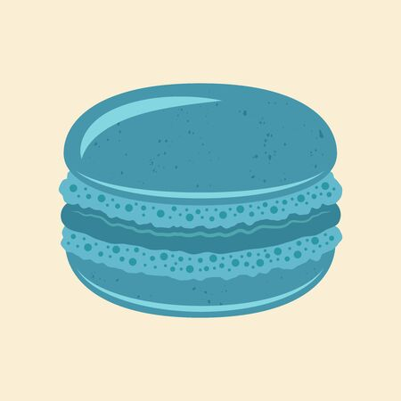 Macaroon traditional french dessert vector blue isolated illustration