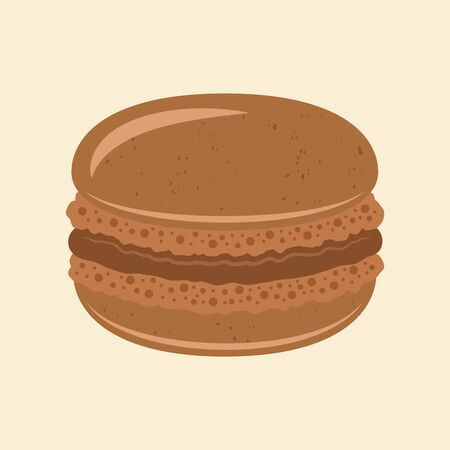Macaroon traditional french dessert vector chocolate color isolated illustration