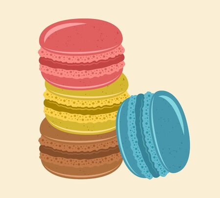 Stack of macaroons traditional french sweets vector colored isolated illustration