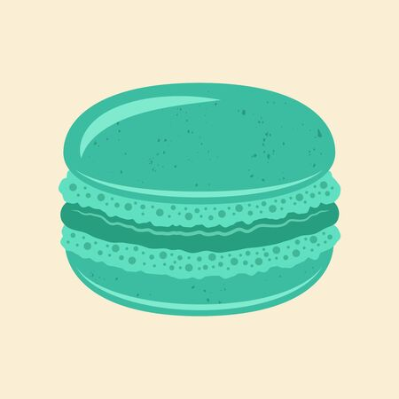 Macaroon traditional french dessert vector mint color isolated illustration Stock Illustratie