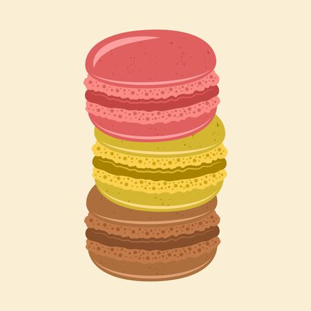 Stack of colored macaroons vector isolated illustration Stock Illustratie