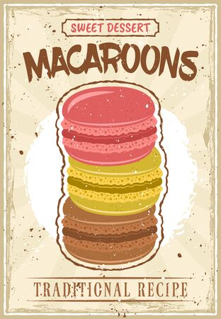 Macaroons vintage poster in vintage style with removable grunge textures and sample text on separate layers Stock Illustratie