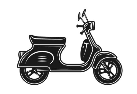 Scooter or moped vector black object or design element isolated on white background