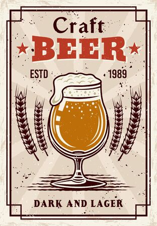 Beer vintage poster, glass with foam and bubbles vector illustration. Grunge textures and text on separate layers