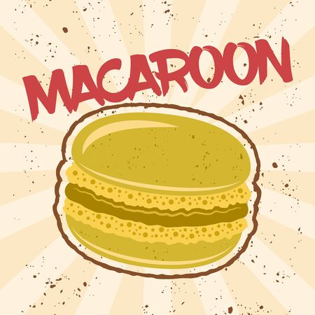 Macaroon traditional french dessert vector pistachio color isolated illustration with grunge textures