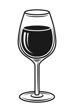 Wine glass vector black and white isolated vector object or design element Stock Illustratie