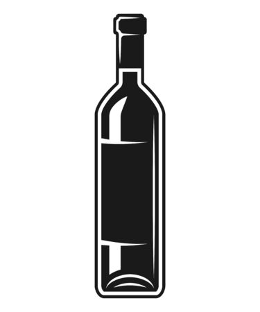 Bottle of wine vector black and white isolated vector object or design element