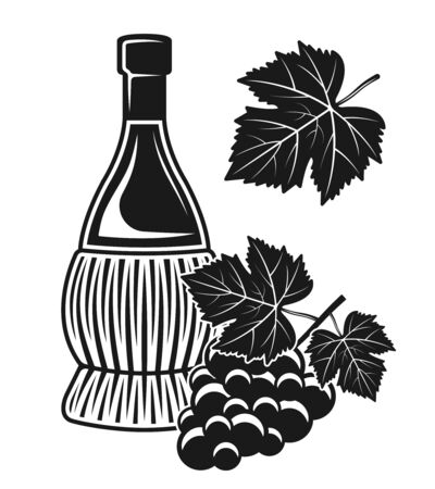 Wine bottle and grape vector isolated objects or design elements in black and white style