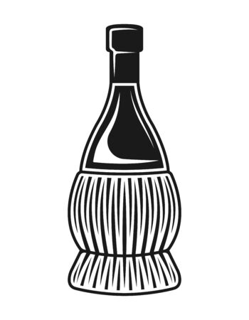 Fiasco bottles of wine vector isolated object or design element in vintage black and white style