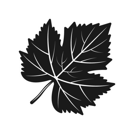 Grape leaf vector black silhouette object or design element isolated on white background