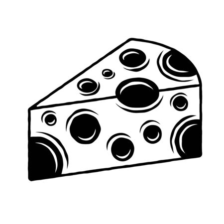 Cheese vector black and white object or design element in vintage style isolated illustration